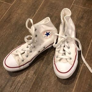 Converse white high top sneakers, size 5!